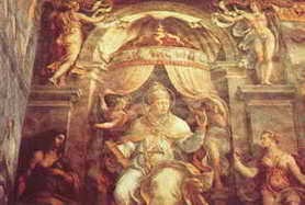 The Pope enthroned under a canopy of the Zodiak